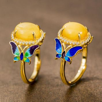 Gold Plated Silver Butterfly Ring - Cloisonne Enamel