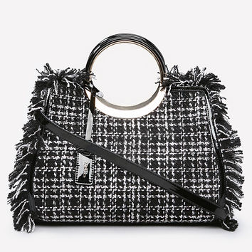 bebe Womens Tatiana Boucle Tote Black White