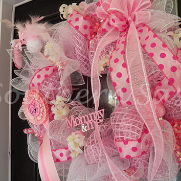 It's a Girl Welcoming Wreath, Baby Shower Decoration, Door Hanger Made To Order