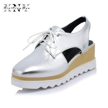 XIUNINGYAN Women Platform Shoes Oxfords Brogue PU Flats Lace Up Shoes Creepers Vintage Hollow Light Sole Casual Shoes Plus size