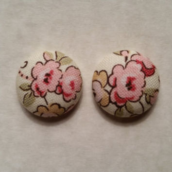 Pink Floral fabric covered button earrings