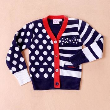 Girls Sweaters Sleeve Little Navy Blue