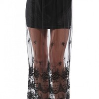 Sheer Lace Trim Maxi Skirt in Black