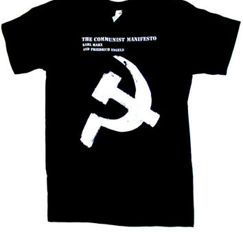 The Communist Manifesto T Shirt S, M, L, XL black karl marx friedrich engels