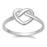 925 Sterling Silver Heart Promise Bind Knot Ring 10MM