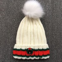 GUCCI The new cotton knit cap of 2018, plus qiu dong warm wool hat White