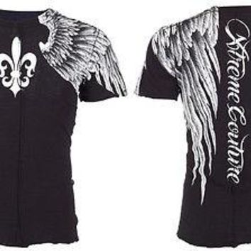 Licensed Official XTREME COUTURE by AFFLICTION Mens T-Shirt AEROSMITH Wings Tattoo Biker UFC $40