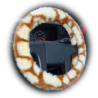 Giraffe print faux fur furry fluffy fuzzy car Steering wheel cover