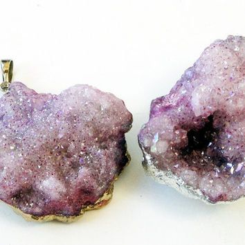 Pink  Purple Rough Raw Moss Rock Crystal Quartz Druzy Sterling Silver / Gold Dipped Pendant  Drussy Druzzy
