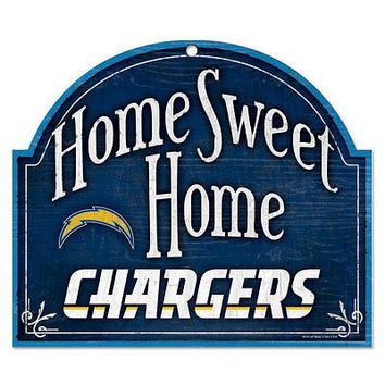 "LOS ANGELES CHARGERS HOME SWEET HOME ARCHED WOOD SIGN 10""x11"" BRAND NEW WINCRAFT"