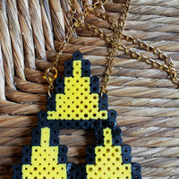 Zelda Charm Necklace - custom perler hanna bead jewelry geekery tri force emblem video game themed FREE shipping to United States