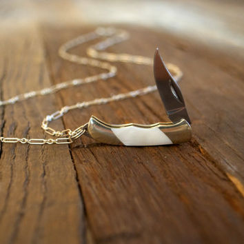 Miniature Pocket Knife Necklace- White Mother of Pearl & Sterling Silver