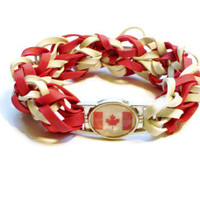 Canadian Flag Stretch Bracelet - Made w/ Rubber Bands - O Canada Charm Bracelet, Red and White