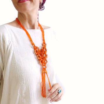 Floral Orange beaded dangle necklace, Daisy necklace, Indian style, Boho necklace, Orange is the new black necklace, Free shipping