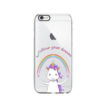 Unicorn Cute Animal Clear Transparent Plastic Phone Case Phone Cover for Iphone 7/8PLUS_ SCORPIOshop (VA299, iphone 7/8PLUS)