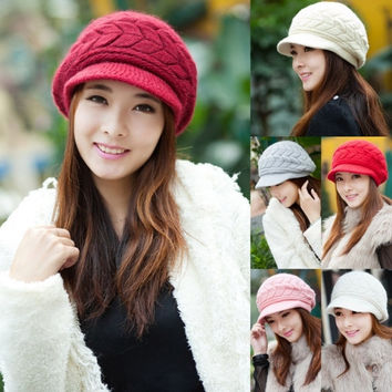 Women's Fashion Autumn Winter Knitted Cap Knitted Hat Double Layer Thermal Hot