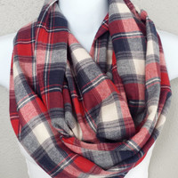 Plaid Flannel Nautical Toned Infinity Scarf Womens Fashion Plaid Patriotic Scarves Girls Red Flannel Plaid Winter Scarf Red White and Blue