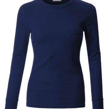 LE3NO Womens Fitted Long Sleeve Round Neck Ribbed Knit Thermal Shirt