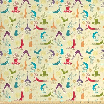Lunarable Doodle Fabric by the Yard, Workout Fitness Girls in Different Yoga Pilates Positions Health Wellness Gymnastics, Decorative Fabric for Upholstery and Home Accents, Multicolor