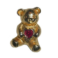 Vintage AVON Bear Valentine Heart Pin 80s Teddy Bear with Ruby Red Garnet Heart Tie Tack Brooch Pinback Scarf Hat Pin Gold Teddybear Gift