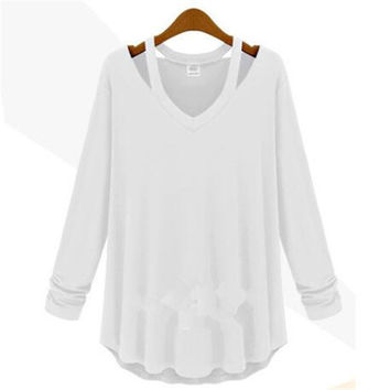 High Quality Brand New Fashion Women Plus Size Tops Long Sleeve V-neck Blouse Off Shoulder Shirt 70433 SM6