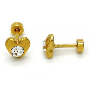 Stainless Steel Stud Earring, Heart Design, with Crystal, Gold Tone