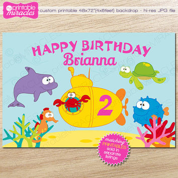 Under the Sea Printable Backdrop, Dessert Table Backdrop, Colorful Sweet Table Backdrop, Ocean Birthday Party Decoration