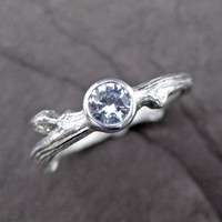 Budding Branch White Sapphire Ring in Sterling by kristincoffin