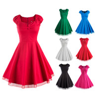 Women Vintage 50'S 60'S Swing Pinup Retro Party Housewife Cap Sleeve Dress