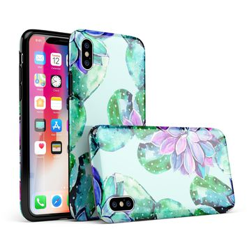 Watercolor Cactus Succulent Bloom V11 - iPhone X Swappable Hybrid Case