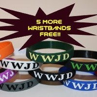 """5 FREE WRISTBANDS w/ purchase! 20PK TWO OF EACH COLOR Silicone Wristband/ Bracelet """"WWJD"""" (WWJD on front & back)"""