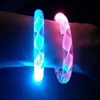 Cofufu 6PCS Fluorescence Stick / Electronic LED flash Bracelet / Light-emitting bracelet + 6 Sets Spare Batteries