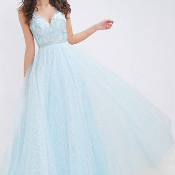 Light Blue Prom Dress Double V-Neck Backless Beading Crystal Party Gowns Sleeveless Floor Length Tulle Prom Dresses