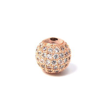 Clear Crystal Rose Gold Cubic Zirconia Beads, 6mm Round
