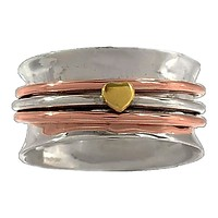 Spinner Ring Three Tone Hearts Ring