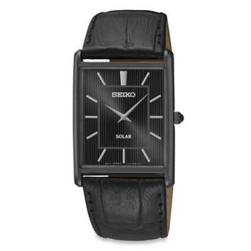 Seiko Men's Black Ion Finish Square Core Solar Watch with Leather Wrist Strap