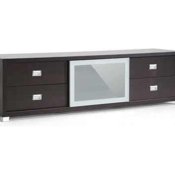 Baxton Studio Botticelli Brown Modern TV Stand with Frosted Glass Door Set of