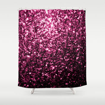 Beautiful Pink glitter sparkles Shower Curtain by PLdesign