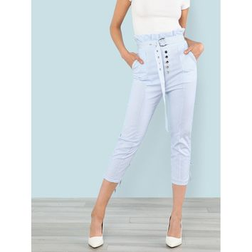 O-Belted Button Up Striped Pants