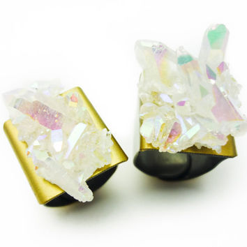 Angel Opal Aura Quartz Rainbow Crystal Druzy Ring DUO