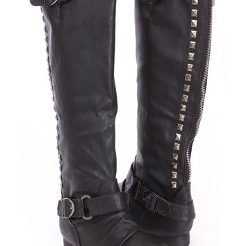 Black Studded Knee High Riding Boots Faux Leather
