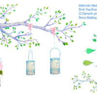 Wedding clipart - Hand painted watercolor birch tree branch and tin cans printable instant download for wedding invitations, greeting cards