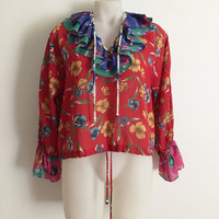 DIANE FREIS!!! Vintage 1980s 'Diane Freis' long sleeved multicoloured floral print blouse with ruffle neck and cuffs
