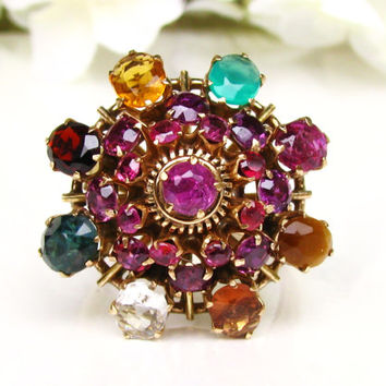 Big Bold Vintage Harem Ring Unique Engagement Ring 12K Gold Floral Cluster Ring Vintage Wedding Ring Size 7!