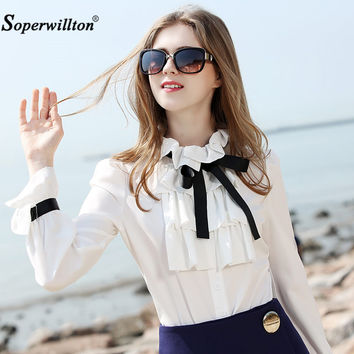 New 2017 Spring Women Blouse Long Puff Sleeved White Shirt Bow Ruffles Fashion Chiffon Blouses For Work Female shirts Plus Size