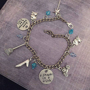 Have Courage & Be Kind Charm Bracelet - Fairytale Jewelry - Once Upon A Time Jewelry - Princess Jewelry - Cinderella Inspired Jewelry