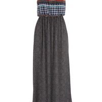 Patterned Maxi Dress With Cinched Waist - Black