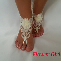 Flower girl anklet , embrodeired, Beach wedding barefoot sandals, bangle, wedding , anklet , children's shoes , flower , kids , princess