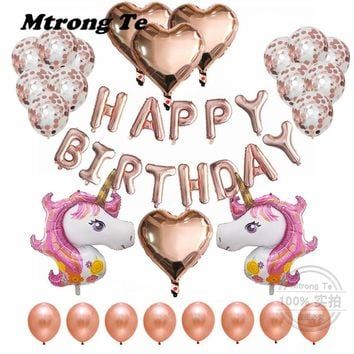 "37pcs/Lot Unicorn Balloons 18"" Heart Helium Foil Balloon Birthday Party Decor Supplies 12"" Rose Gold Confetti Latex Air Globos"