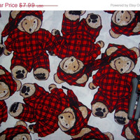 Teddy Bear fabric Teddybears in Pajamas nightcap cotton quilting sewing material by the yard crafting